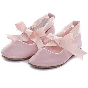 Kid's Dream Pink Ballerina Ribbon Tie Shoes Pink